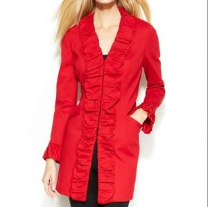 INC International Concepts RED Ruffle front jacket